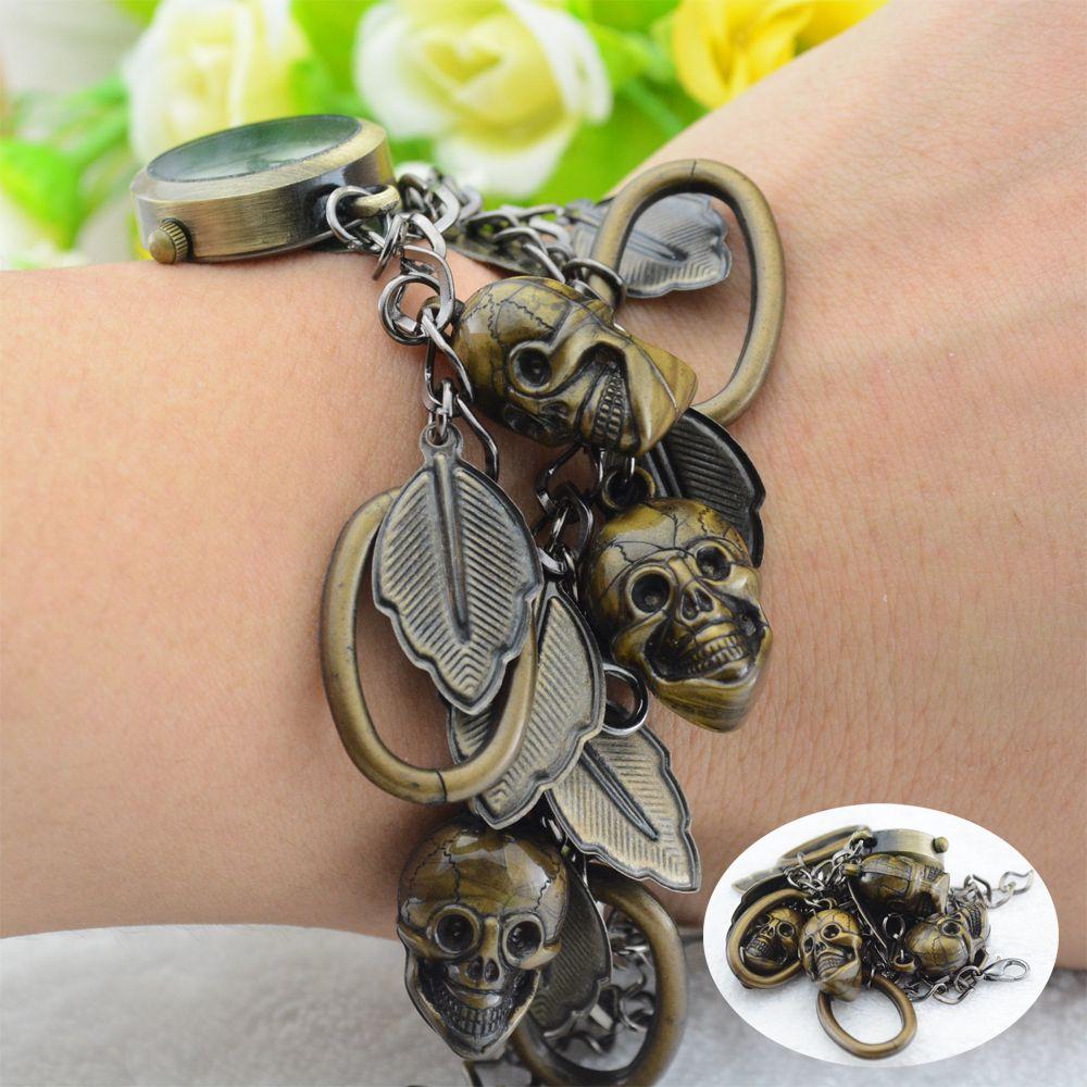 2014 New Fashion Skull Bracelet Watches Vintage Unisex Skullcandy Casual Quartz Watch Women Men 5 Shape Bracelet Style Optional $6.39