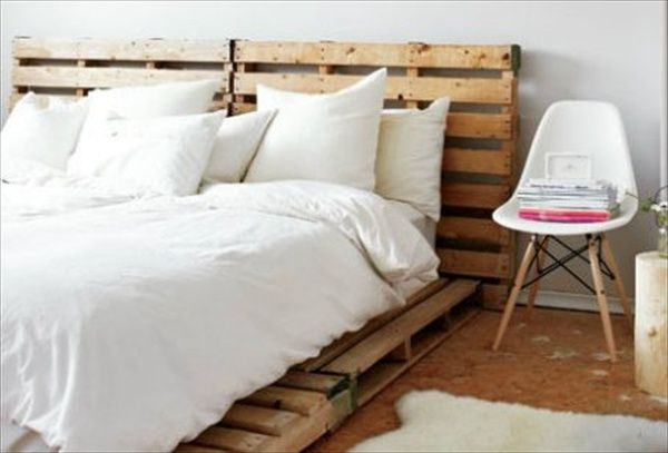 pallets look cool with white bed set :)   Pallet Design   Pinterest ...