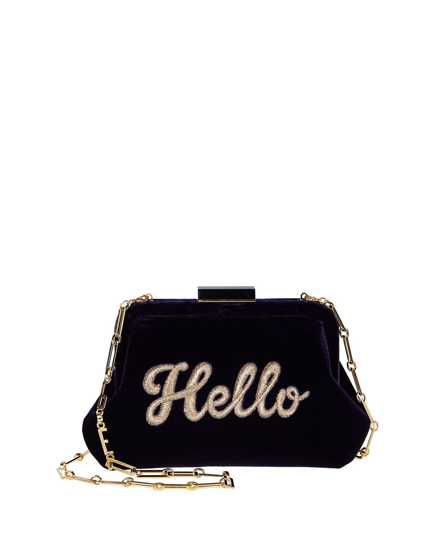 Edie Parker Lauren Hello Embroidered Velvet Shoulder Bag 5d57e493dc0e1