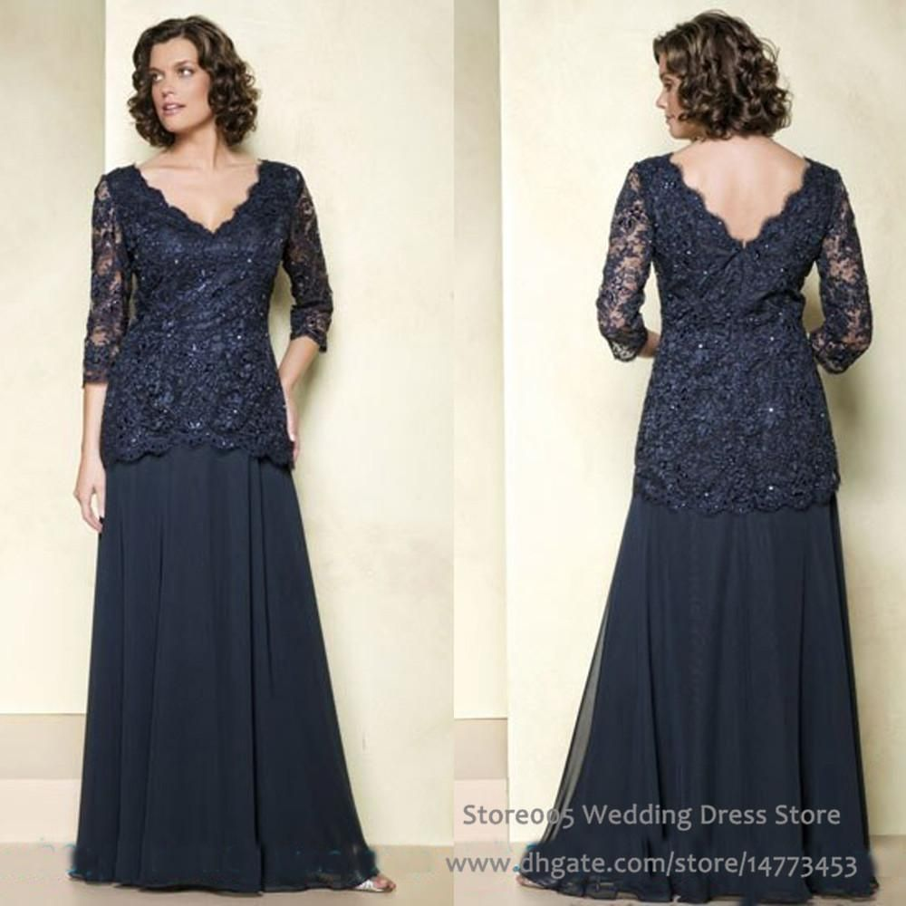 Navy Blue Mother Of The Bride Dresses Plus Size Long Sleeves Chiffon ... 0ec21dc37875