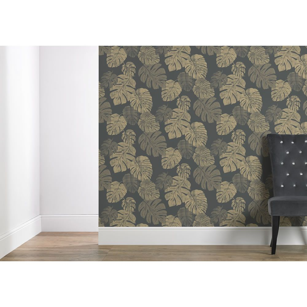 Wallpaper Cheese Plant Charcoal And Gold Cheese Plant Charcoal