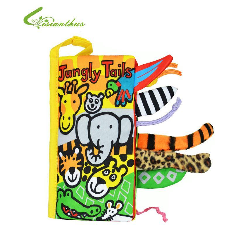 Baby Spielzeug Säuglingstuch Bücher Tiere Jungly Tails Frühen Entwicklungs-spielzeug Educational Bebe Jungen Mädchen Weiche Buch Freier Tropfen-verschiffen