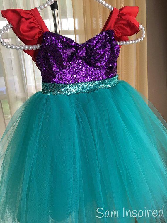 3fe522ed15f Ariel disney inspired dress  little mermaid dress  ariel dress   little  girl dress  sequin ariel dr
