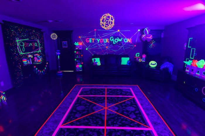 Glow in the Dark Dance Floor from a Glow Dance Birthday Party on Kara s  Party Ideas  2a59a675ce0