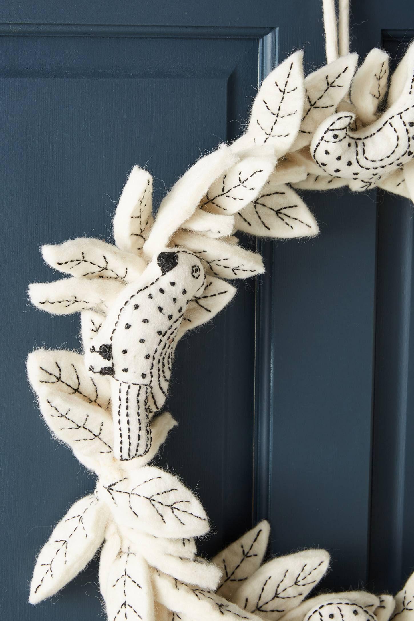 NEW Anthropologie Felted Stitched Songbird Wreath Holiday Bird Wool
