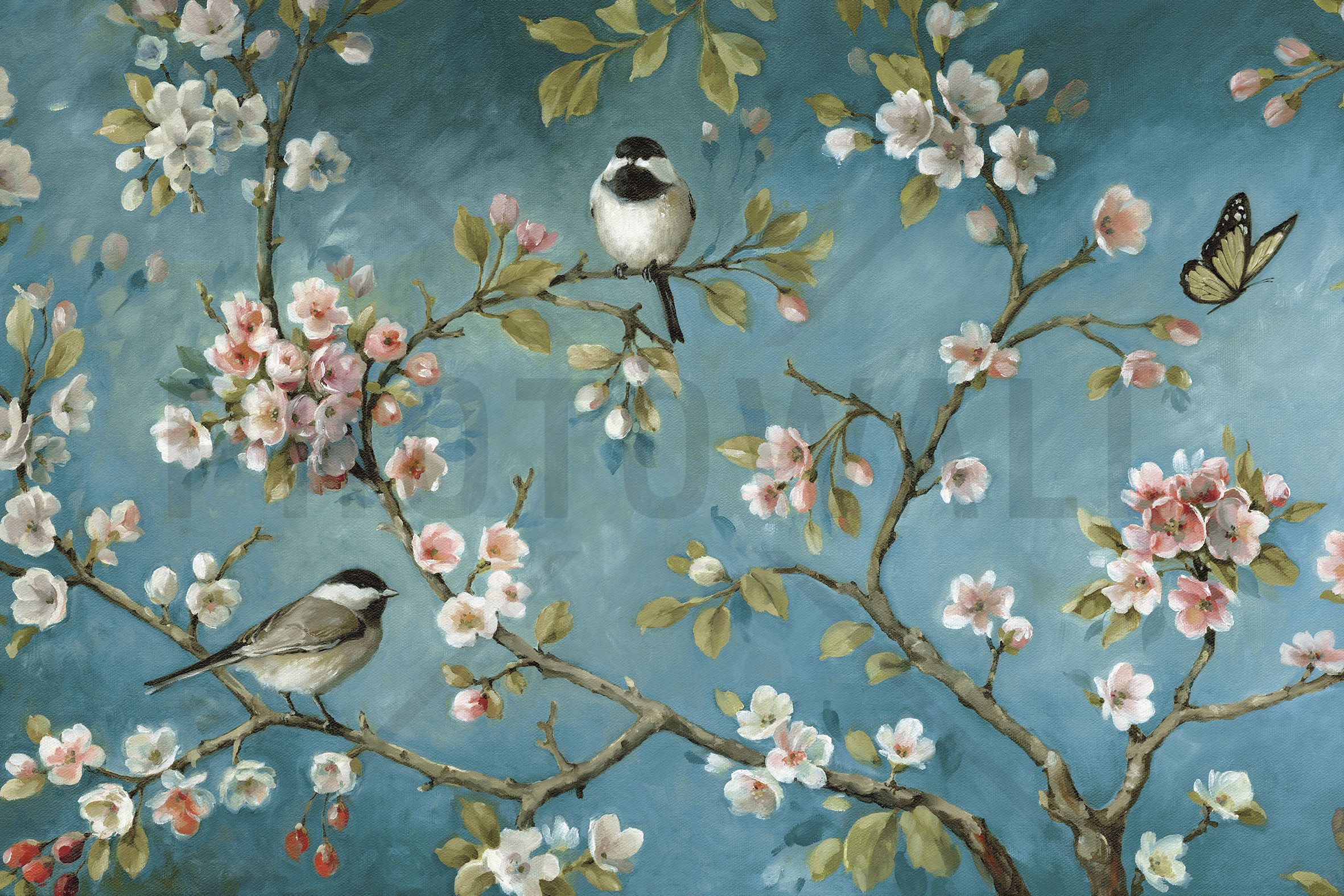 Wallpaper Designs With Birds : Blossom wall mural photo wallpaper photowall