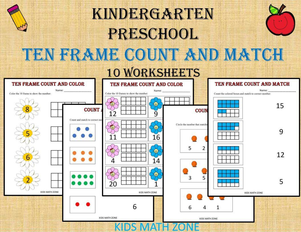 Ten Frame Counting and Match Numbers (Printable Worksheets