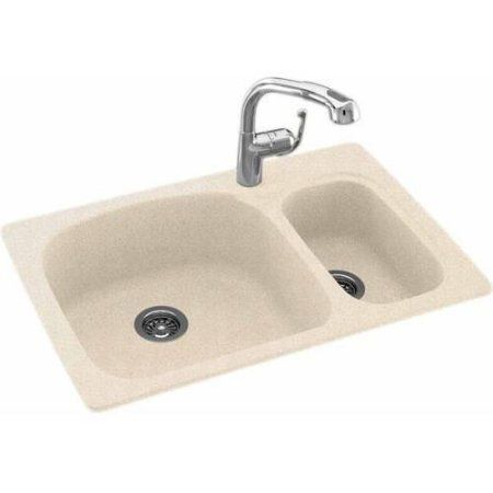 Swan Ksls-3322-010 33 inch x 22 inch Swanstone Double-Basin Dual Mount Kitchen Sink, Available in Various Colors, Brown