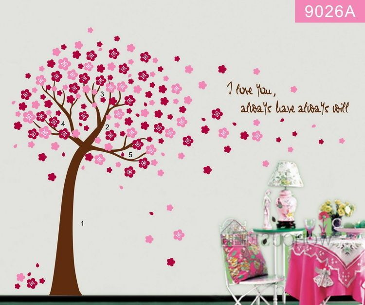 Peach blossom large flower tree wall decal removable stickers decor kids nursery walldcor