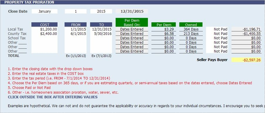 Property Tax Proration Calculator Calculate Tax Per Diem Estate Tax Mortgage Payoff Property Tax