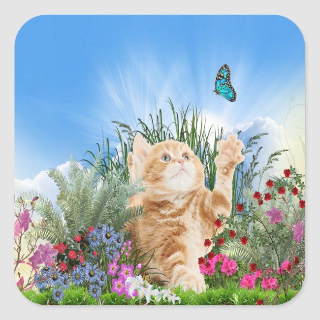 Ginger kitten playing with a butterfly square sticker | Zazzle.com