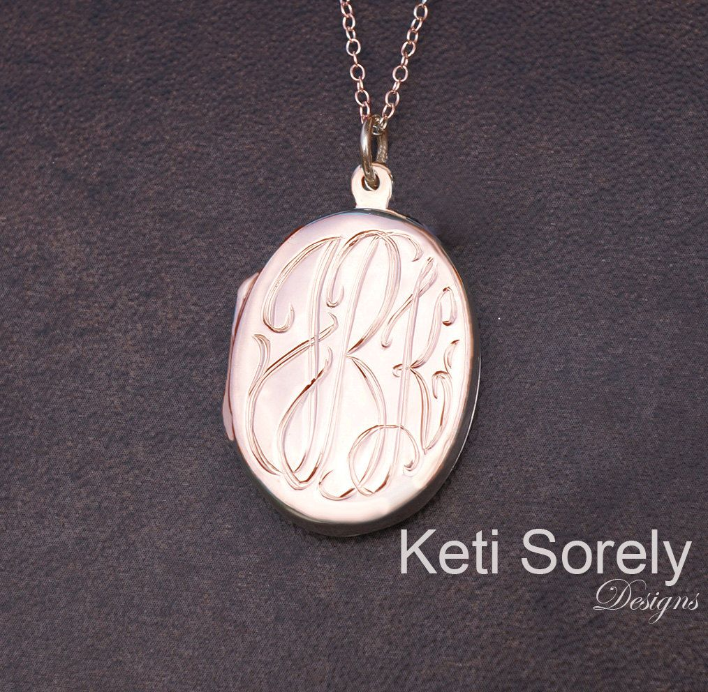 personalized script locket lockets silver engraved monogram round with