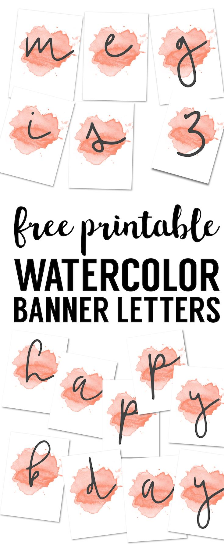 Coral Watercolor Banner Free Printable Free Printables Pinterest