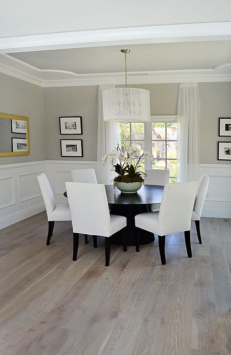 Dining Room Wainscoting French White Oak Floor Ceiling