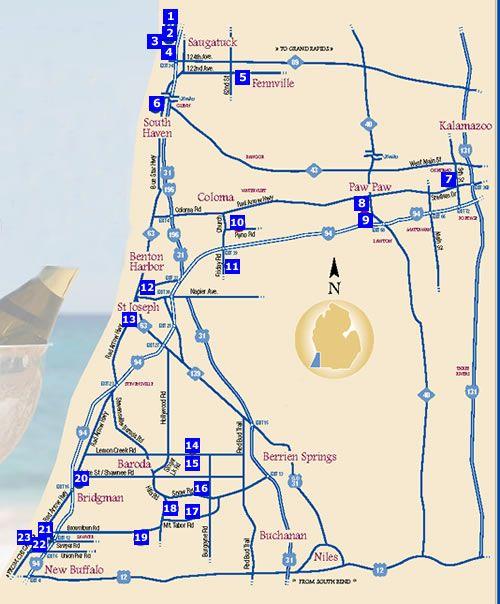 Lake Michigan Shore Wine Trail May Be A Fun Adventure On Way To - Michigan wineries map