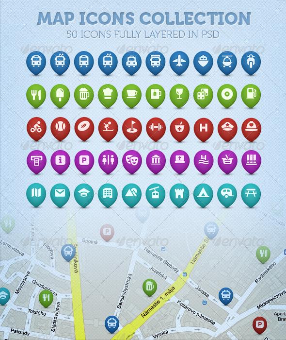 50 Map Icons Collection Map icons, Icon collection, Map
