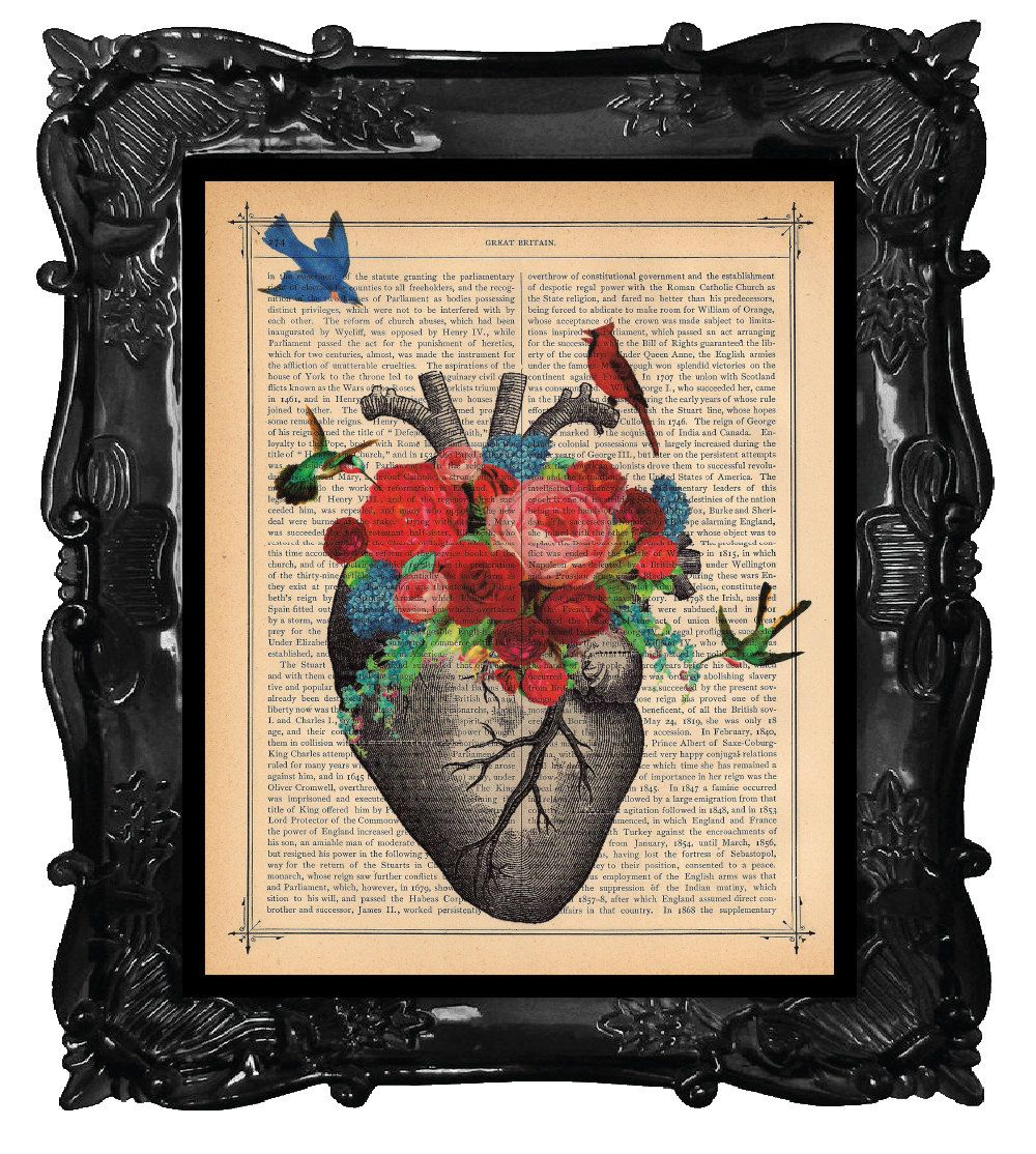 Love Blossom Heart Art Print Birds Cardinal Flowers Art Heart ...