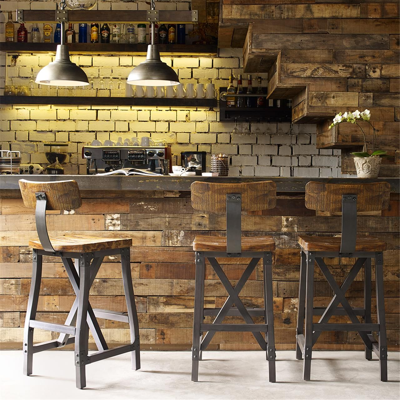 Rustic Stools Kitchens Cheyenne Rustic Industrial Bar Stool W Optional Back