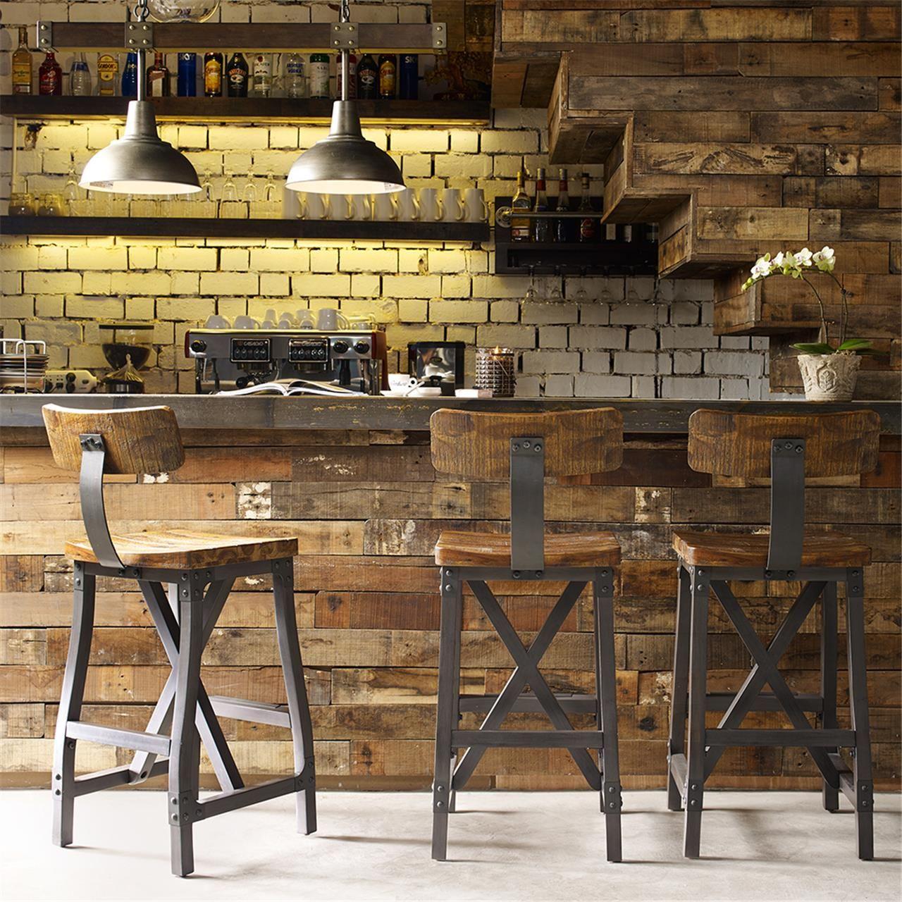 Cheyenne Rustic Industrial Bar Stool Withoptional