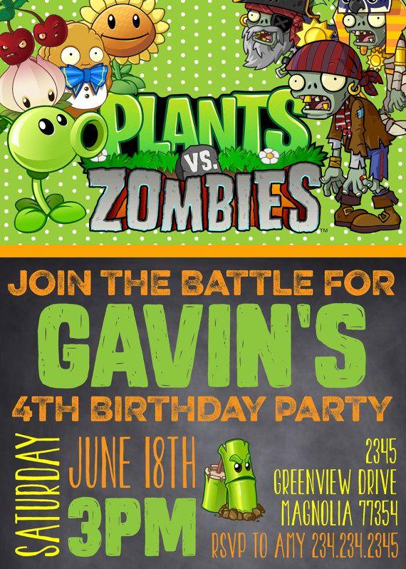 Plants Vs Zombies Plants Vs Zombies Invitation Plants Vs Etsy Plants Vs Zombies Zombie Birthday Parties Plants Vs Zombies Birthday Party