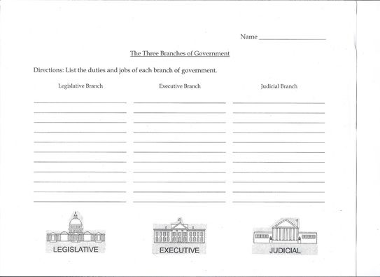 3 Branches Of Government Activity Three Branches Of Government
