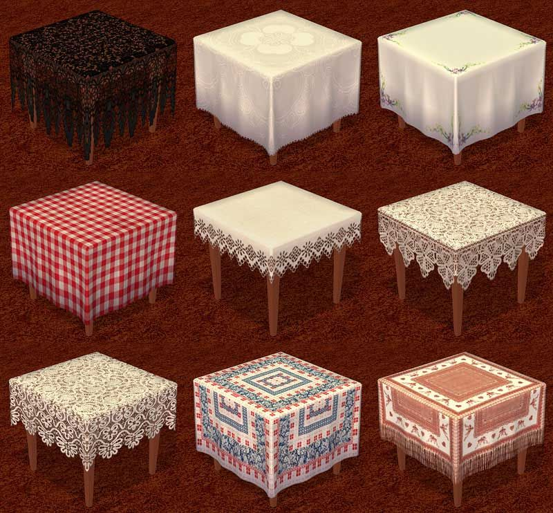 Mod The Sims - [New meshes] Set: Dining Table with cloth and chairs