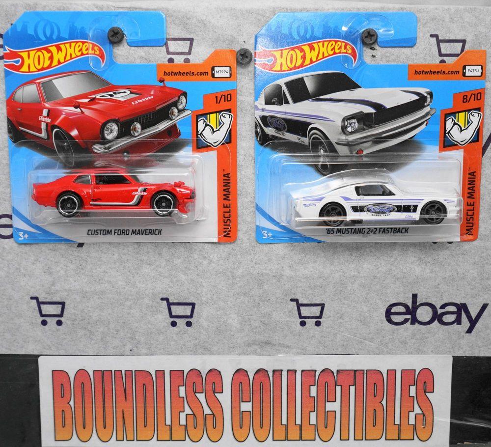 Hot Wheels 2019 Lot Of 2 Ford Custom Maverick Red 65 Mustang 2 2