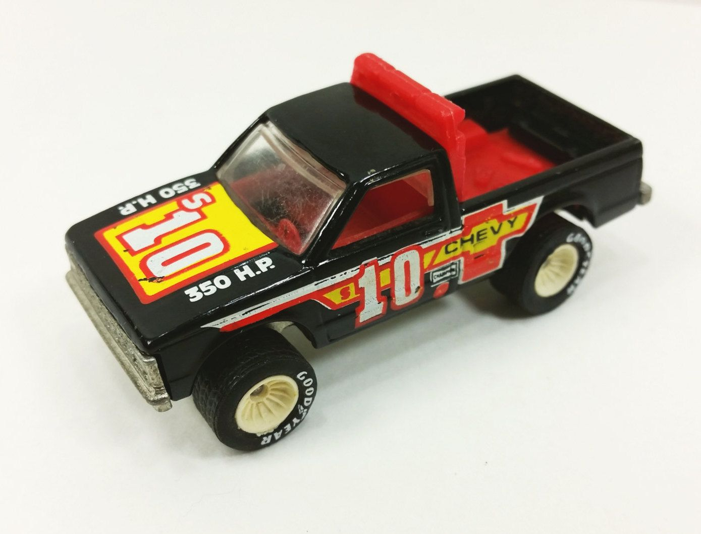 Hot Wheels Path Beater Goodyear Real Riders, Black and Red Chevy Pickup # 2534 by #naturegirl22 on Etsy