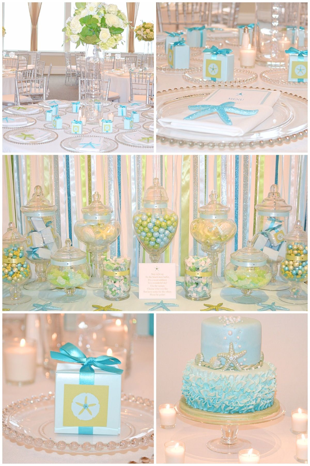 Our Seaside Soiree Blue And Green Party Color Scheme Starfish
