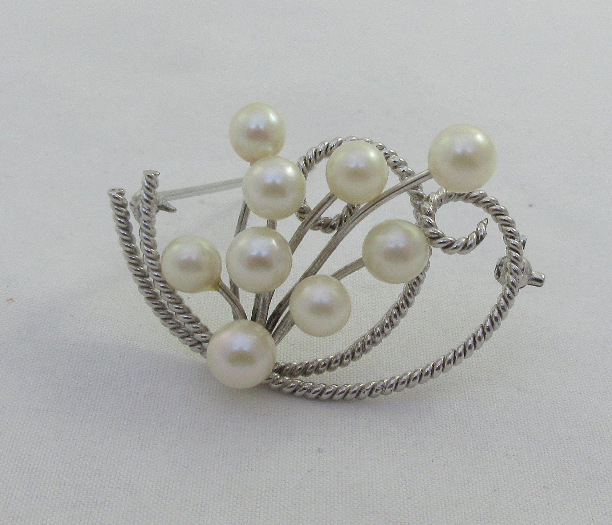 10k Solid Gold Open Heart Pearl Brooch Modernist Pin