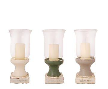 Set de 3 candeleros de cerámica y vidrio
