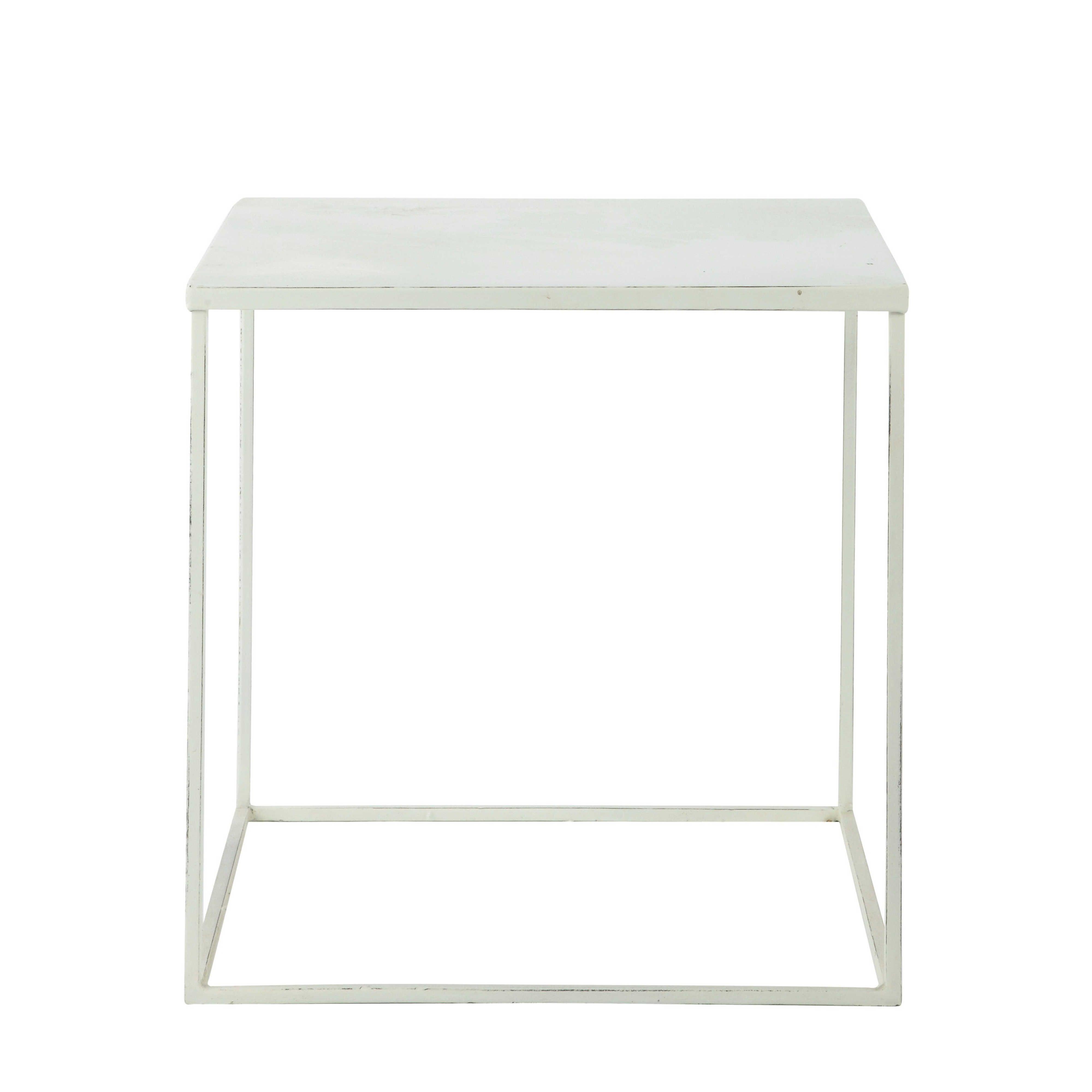 Metal Coffee Table White W 45cm Bloom Maisons Du Monde Metal Coffee Table Table Coffee Table White