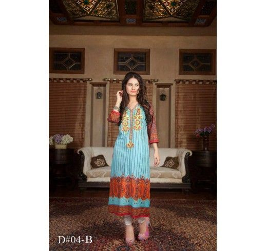Amazing Blue Embroidered Dress By Batik Lawn (With Images