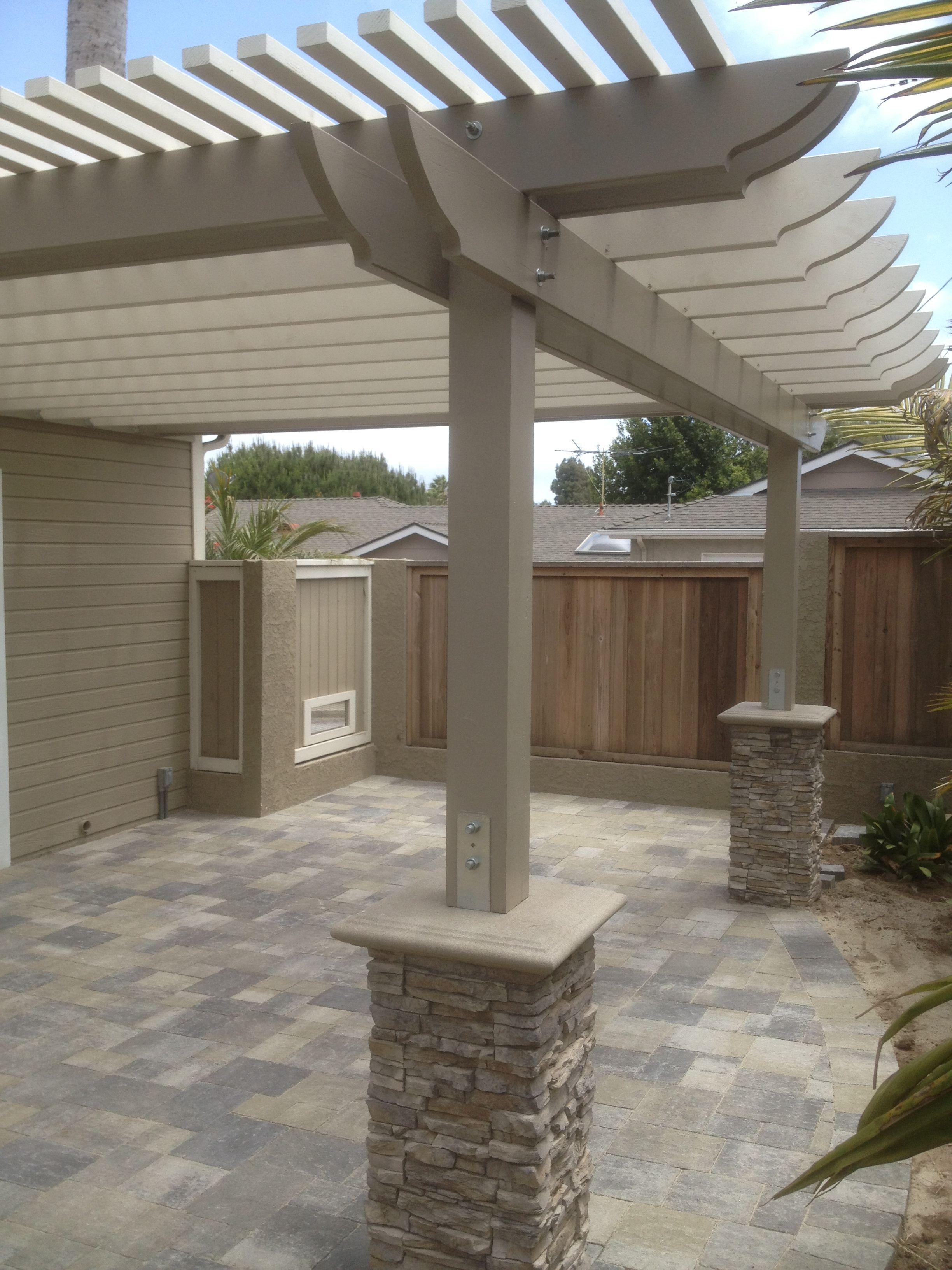 New patio with pergola we used angelus pavers in this for Outside patio design ideas