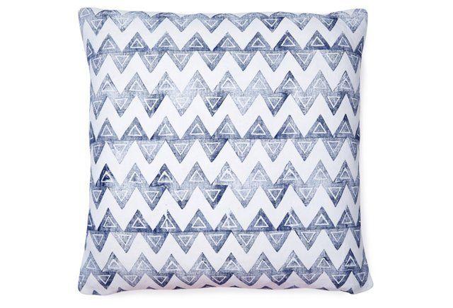 Baxter Linen Pillow, Navy & White, 20x20