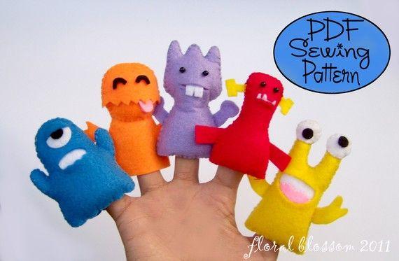 Digital Pattern: Little Monsters Felt Finger Puppets | Filz ...