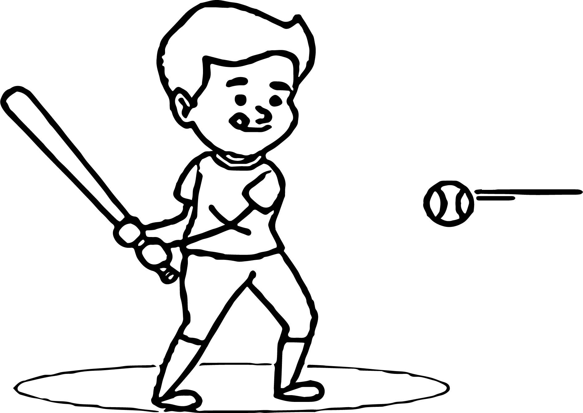 Cool Little League Player Hitting Baseball Coloring Page