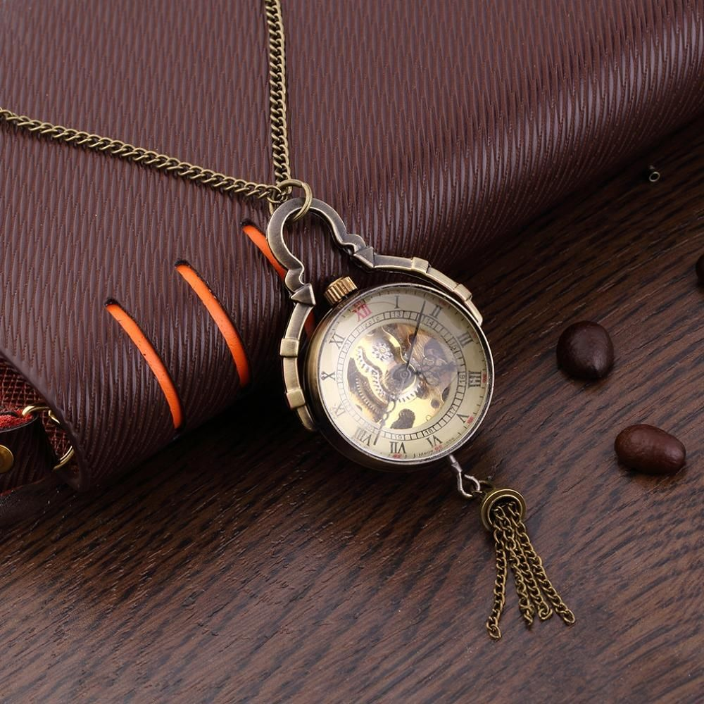 online time zone chain buy steampunk vintage movement pocket watch product double dual necklace clock watches quartz simple from