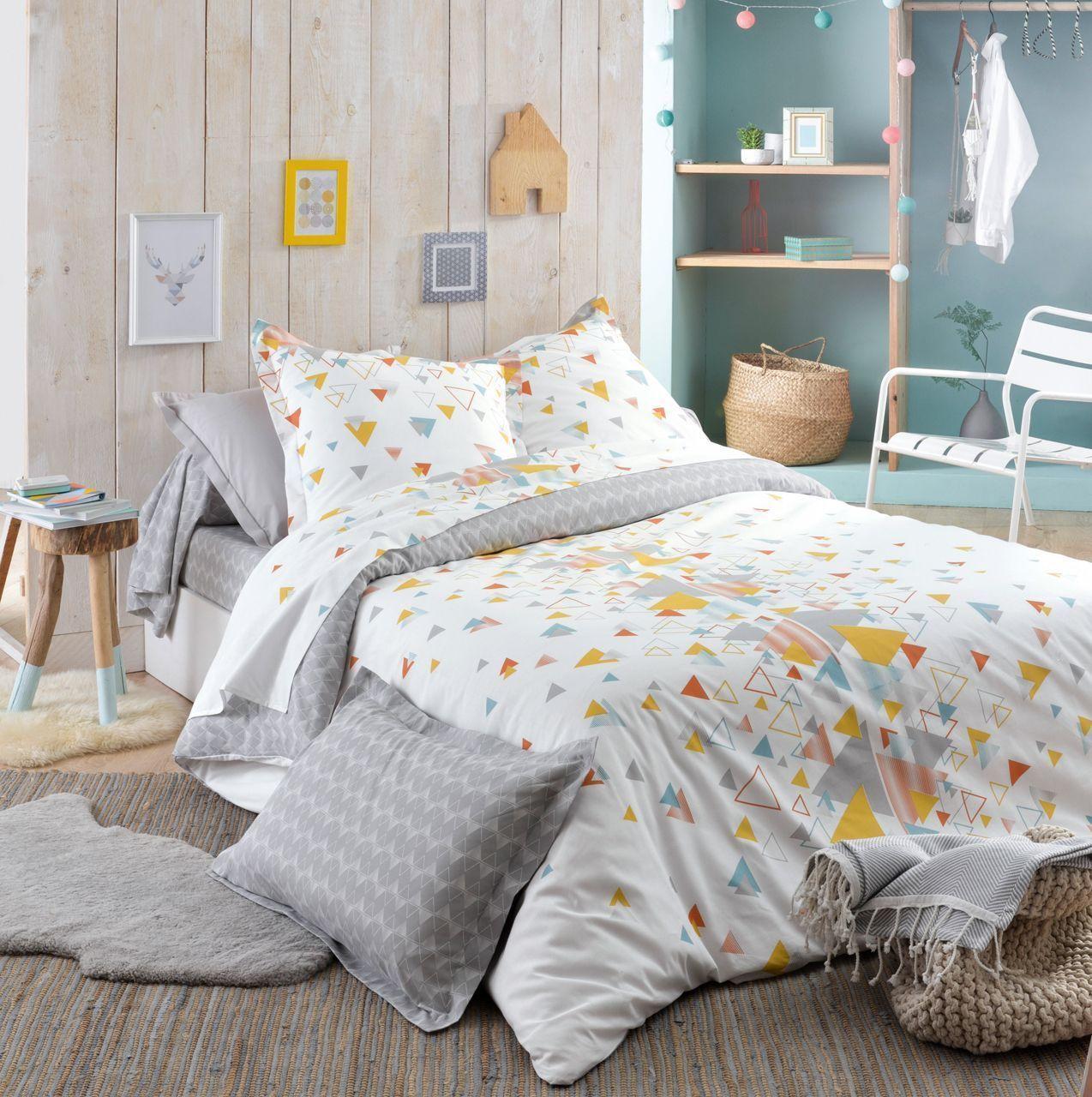 Parure de lit helsi imprim sur fond blanc hc 140x200 1to - Housse de couette style scandinave ...