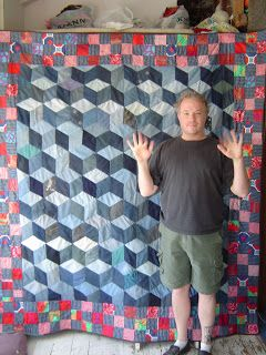recycled quilt: Recycled Jeans!