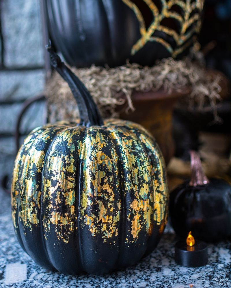 How to store pumpkins - Learn How To Turn Dollar Store Pumpkins Into Elegant Gilded Showpieces In About 5 Minutes Using Only Black Spray Paint And Gilding Sheets
