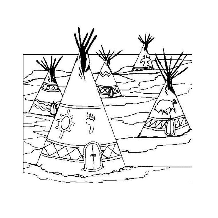Coloriage village indien les indiens - Village dessin ...