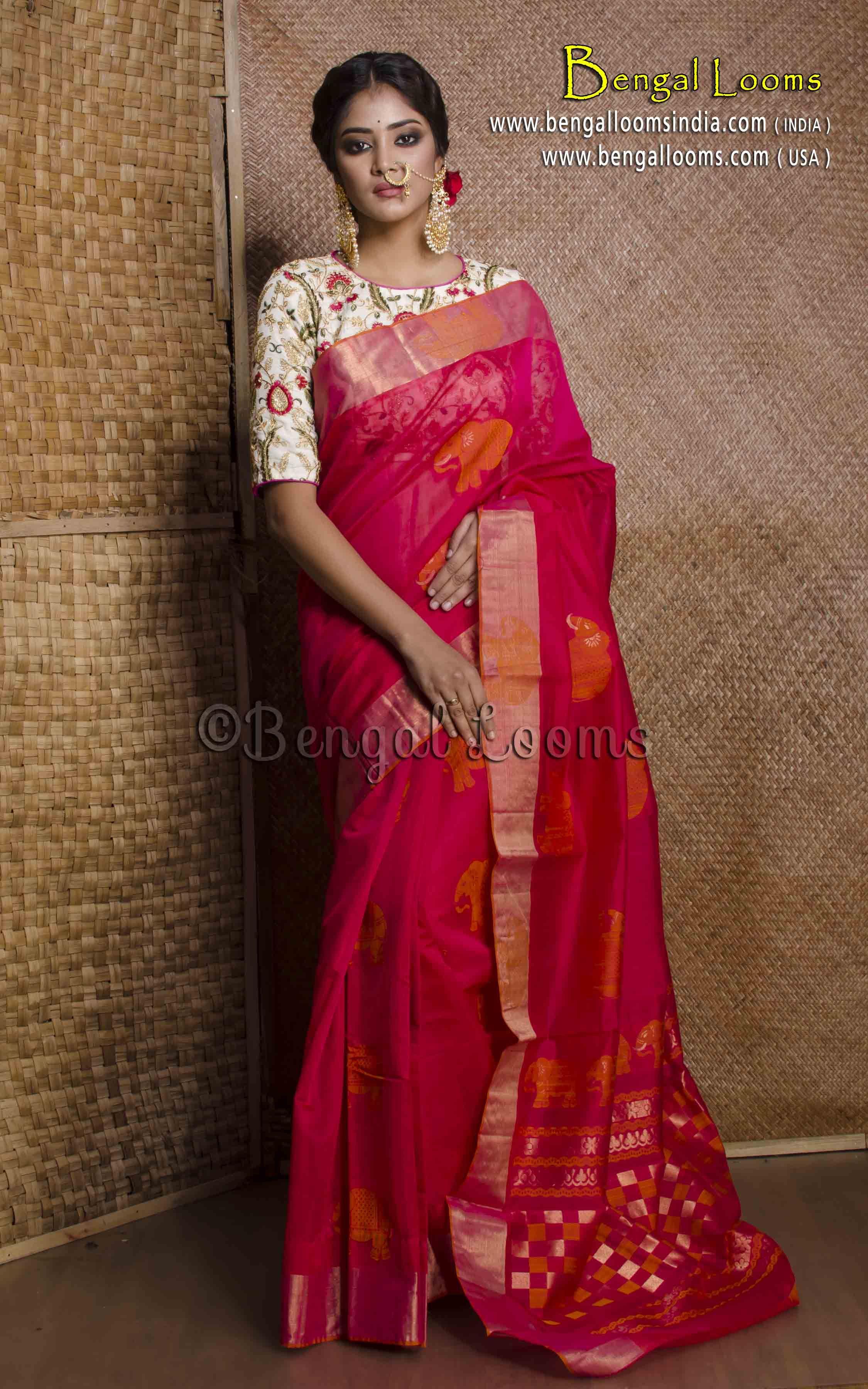 6554f5e98fb Pure Handloom Cotton Silk Thread Work Kanjivaram Saree in Magenta and Orange