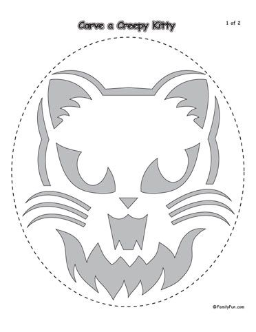 Scary Cat Pumpkin Carving Template | Printable Halloween Patterns ...