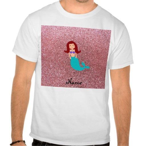 Personalized name mermaid pastel pink glitter t shirts T Shirt, Hoodie Sweatshirt