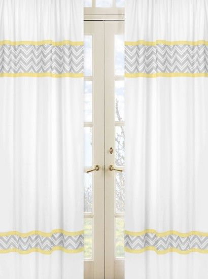 Zig Zag Yellow And Gray Window Panels Yellow And Grey Curtains White Paneling Curtains With Blinds