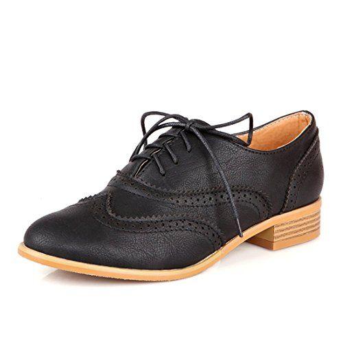 b1d154153e6b Susanny Women Classic Modern Sweet Low Heel Lace Up Carving Wingtip ...