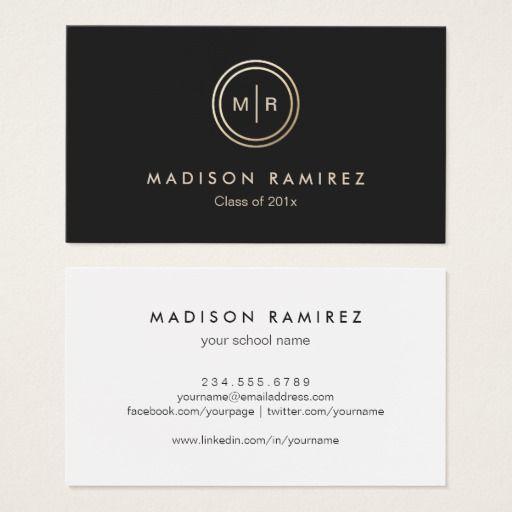 Modern Circle Monogram Logo Graduate Students Calling Card Plain