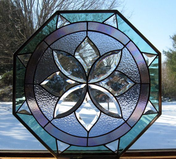 Compass Rose Stained Glass panel, octagonal window panel ...