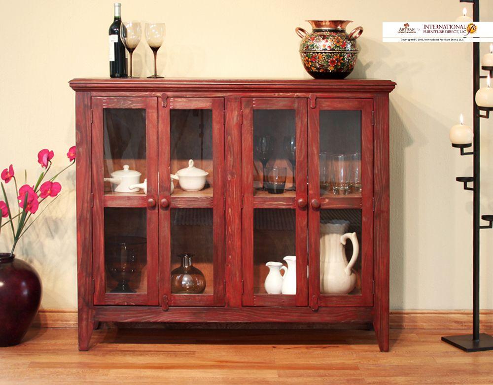 Elegant Artisan Home Furniture   By International Furniture Direct, LLC Red Antique  Console